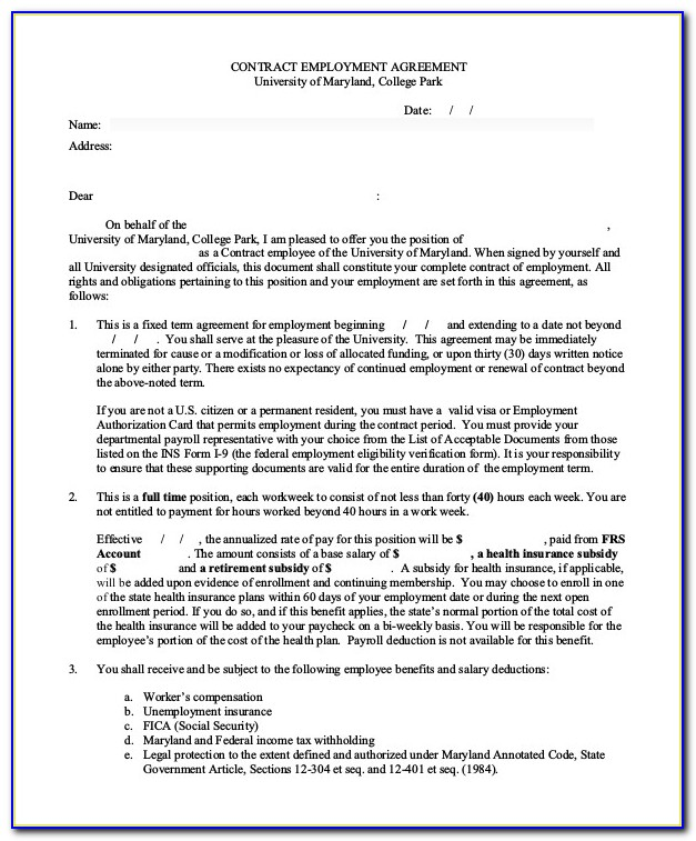 Employee Contract Agreement Sample India