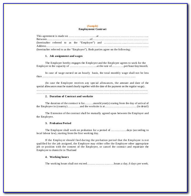 Employment Contract Sample For Construction Worker