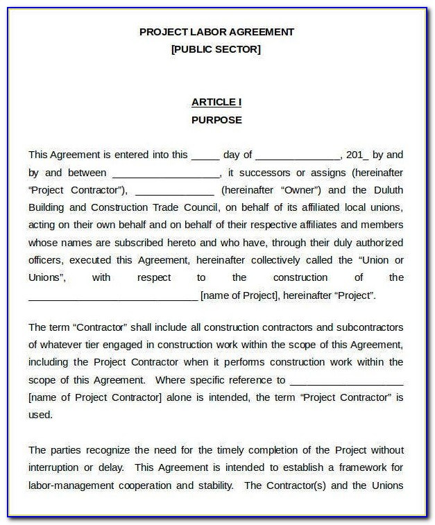 Free Sample Contract Labor Agreement