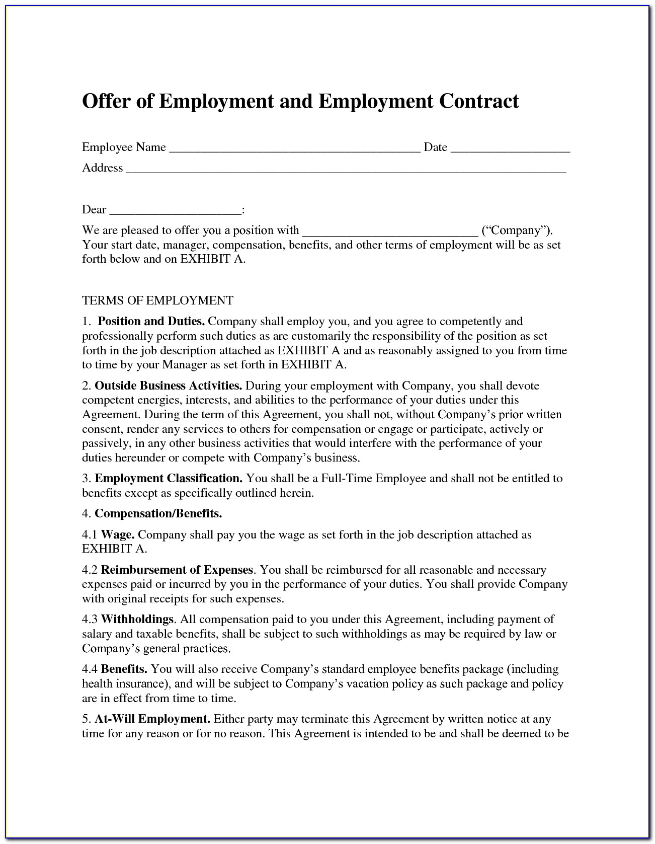 Free Sample Employee Contract Agreement