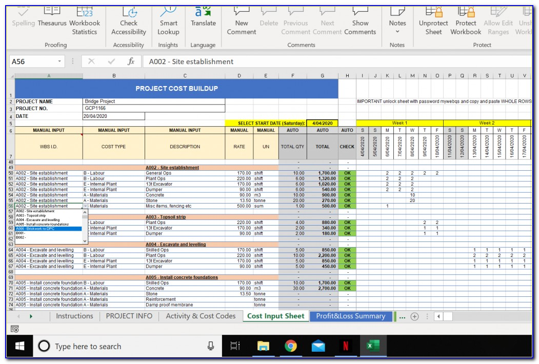 Multiple Construction Project Tracking Template Excel