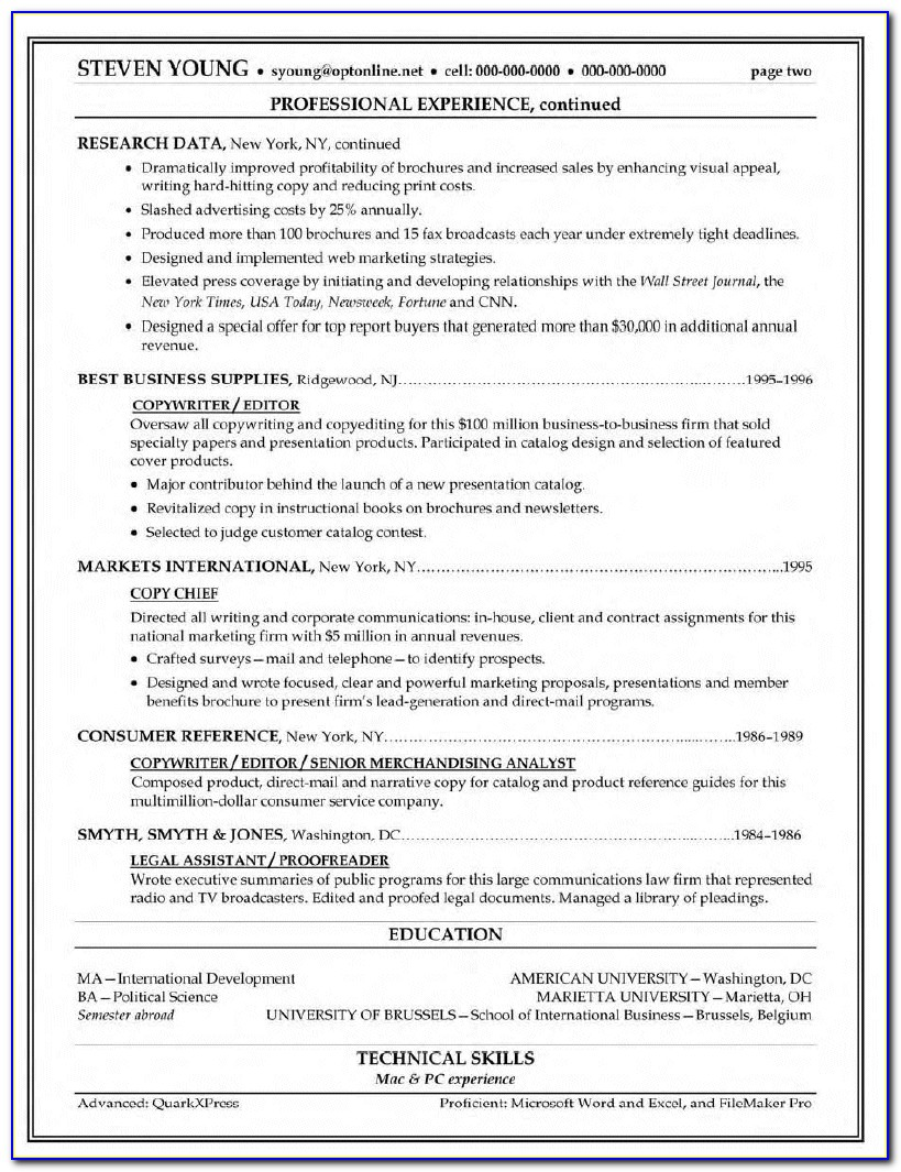 Resume Template I Can Copy And Paste