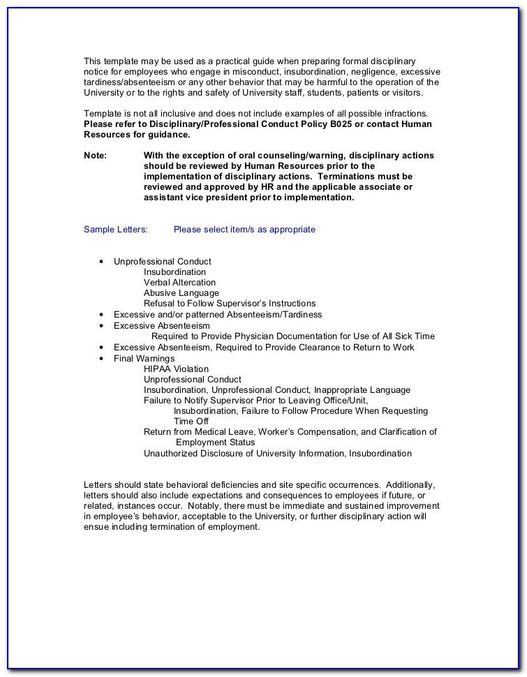 Sample Corrective Action Letter For Attendance