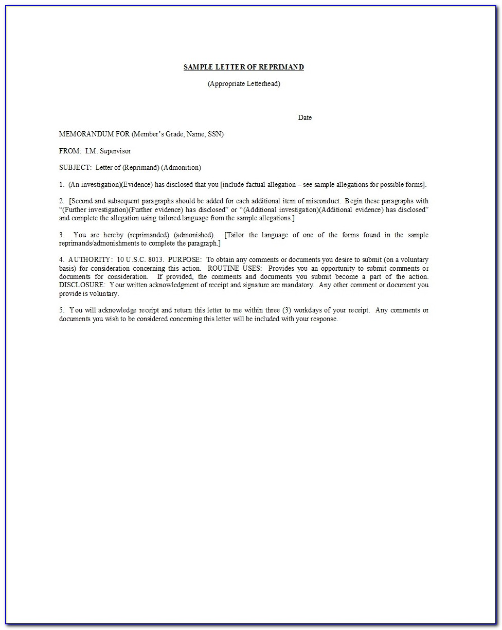 Sample Employee Corrective Action Letter