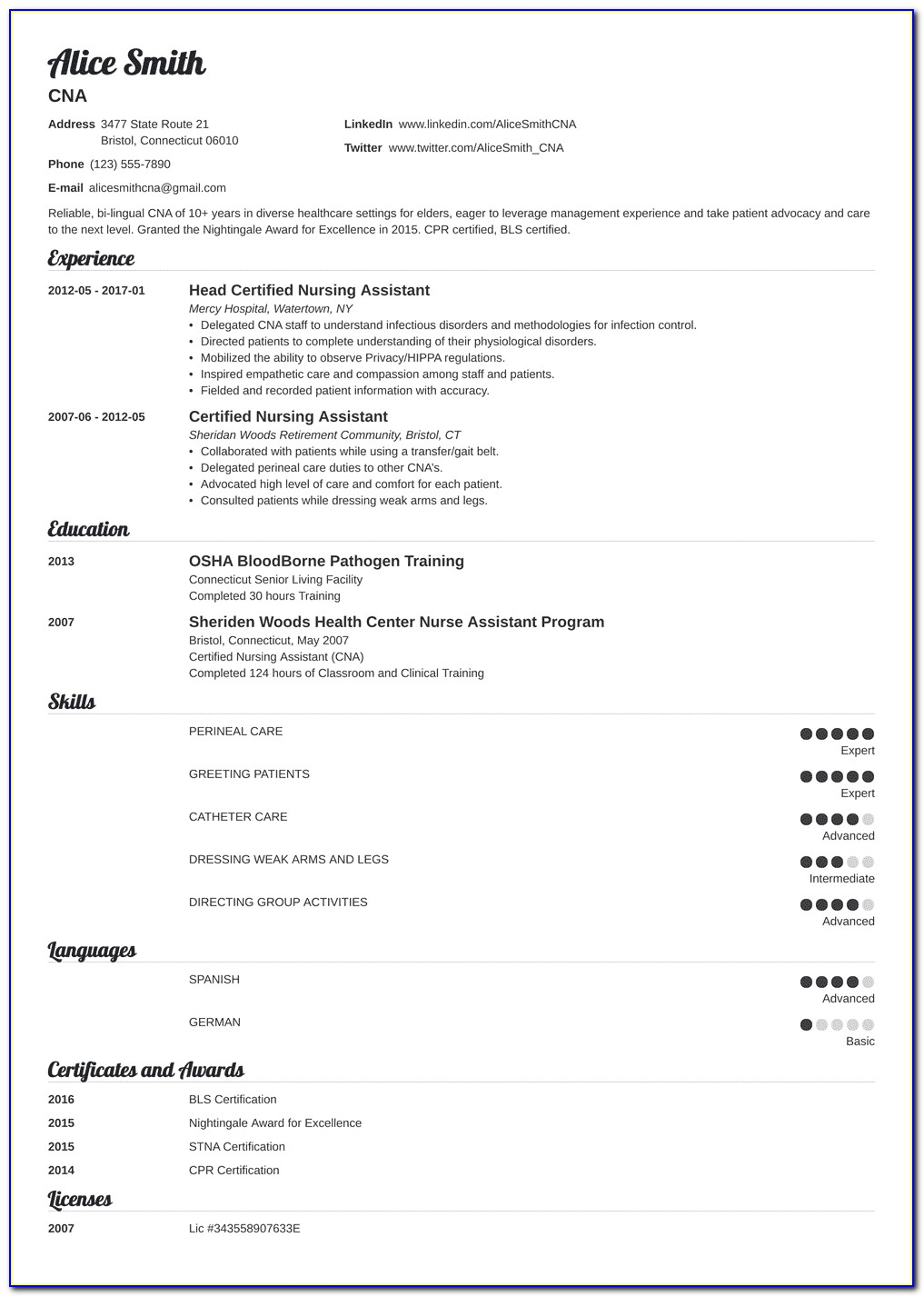 Sample Nursing Assistant Resume Entry Level
