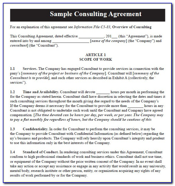 Short Consultancy Agreement Template Uk