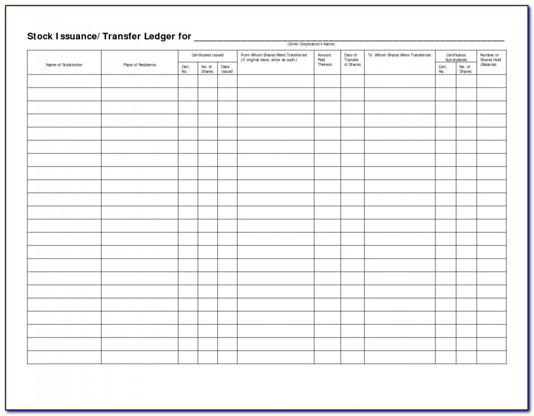 Stock Ledger Excel Template