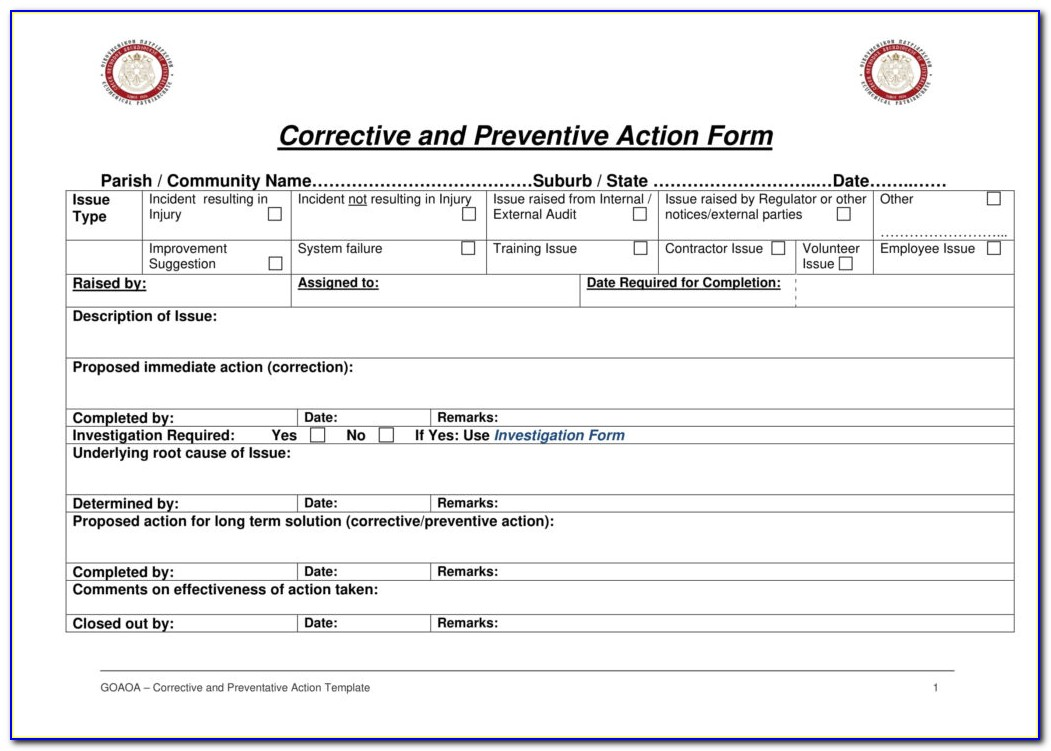 Supplier Corrective Action Request Form Sample
