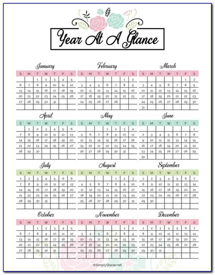 2017 Calendar Year At A Glance Printable