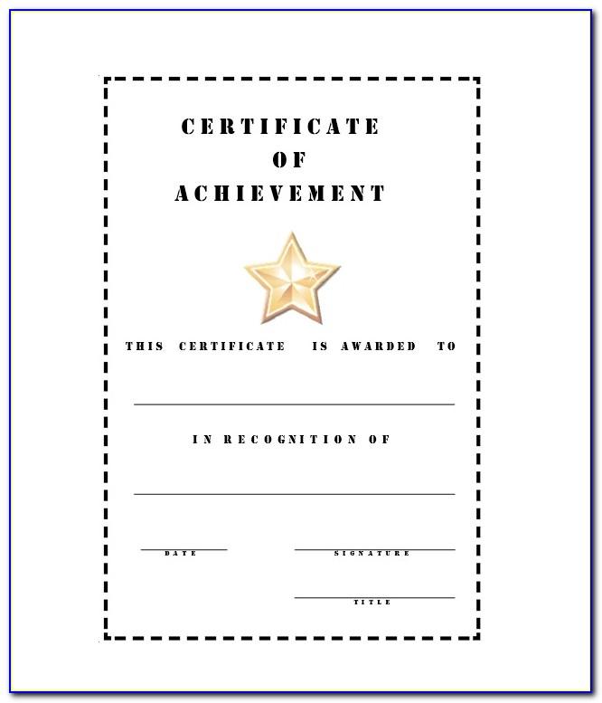 Blank Certificates Of Achievement Templates