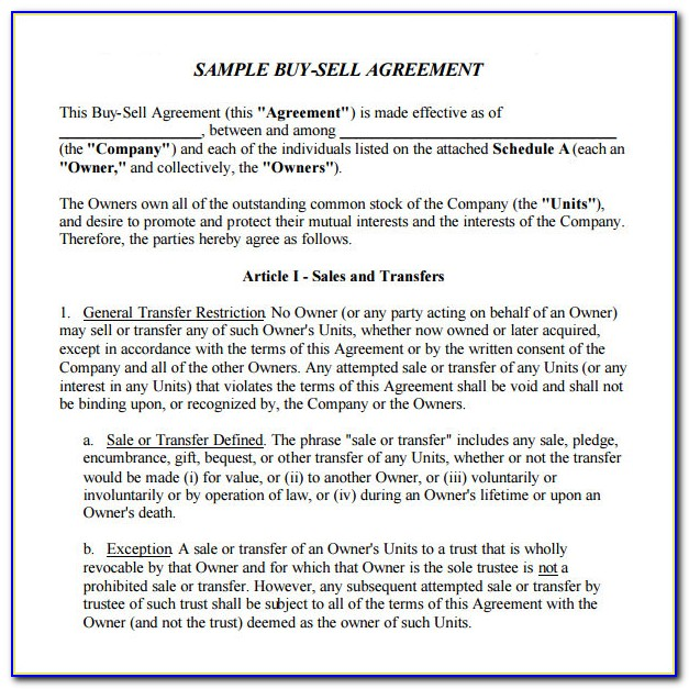 Buy And Sale Contract Template