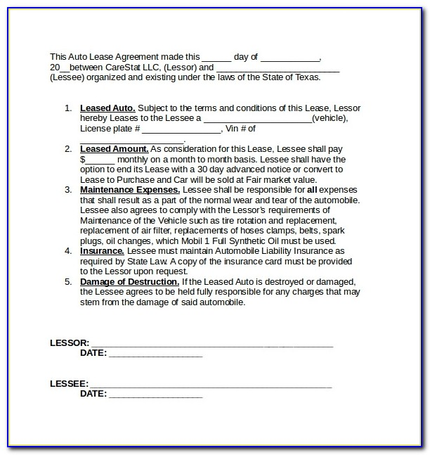 Car Lease Agreement Format India