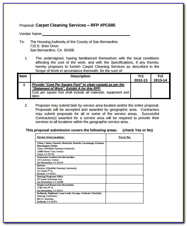 Carpet Cleaning Proposal Letter
