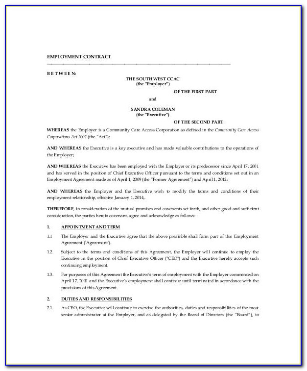 Ceo Employment Contract Agreement