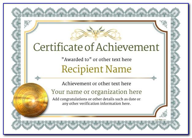 Certificate Of Achievement Award Template