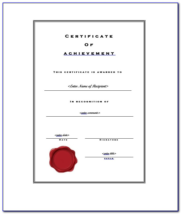 Certificate Of Achievement Templates Free
