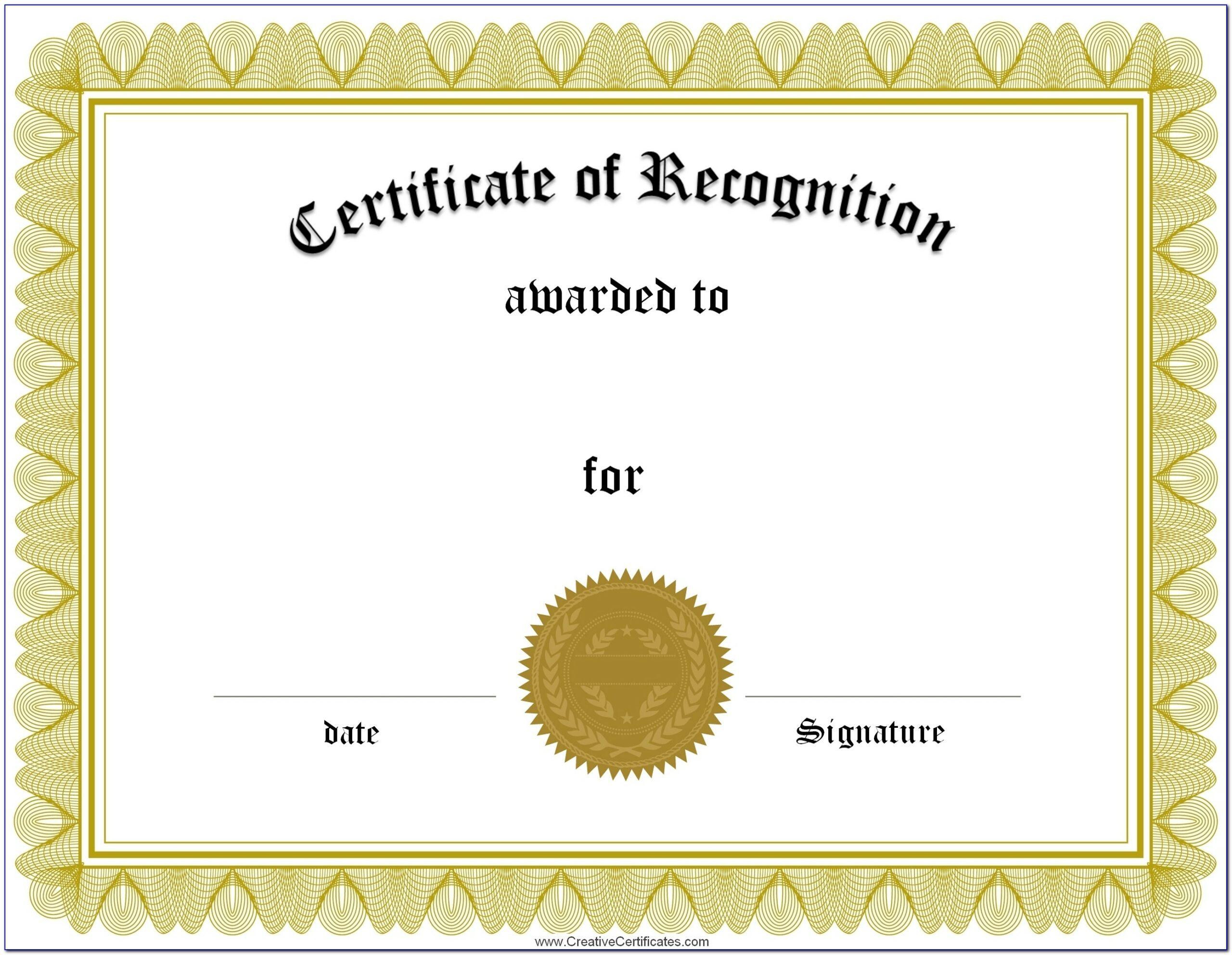 Certificate Of Award Templates Free Printable