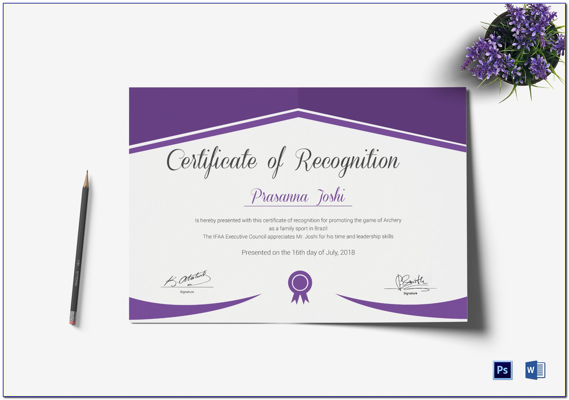 Certificate Of Recognition Template Word Deped