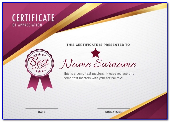 Certificate Of Recognition Template Word Doc