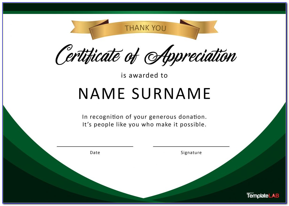 Certificate Of Recognition Template Word Free Download
