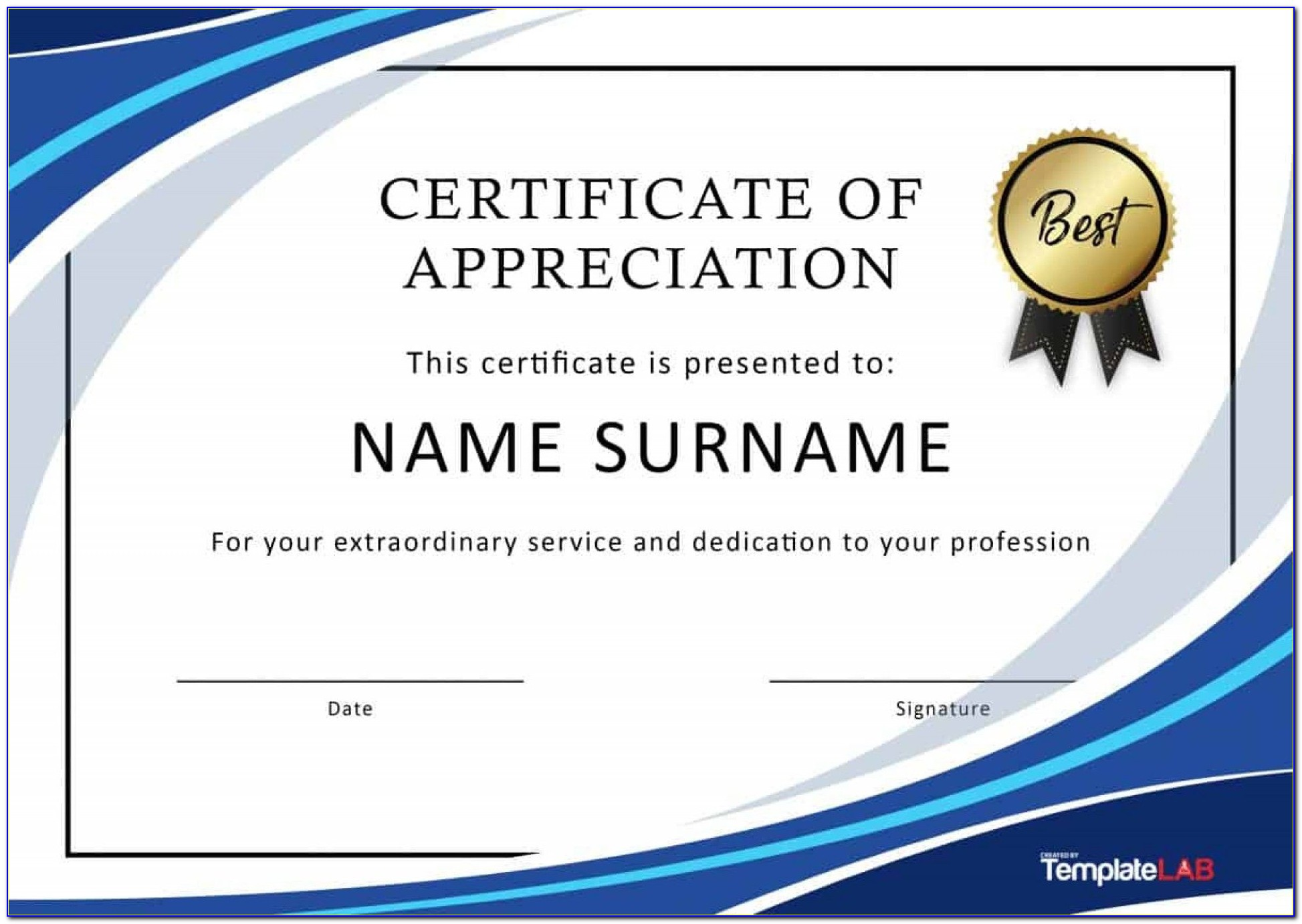 Certificate Of Recognition Template Word Free