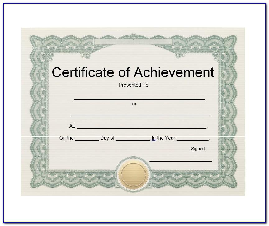 Certificates Of Achievement Printable