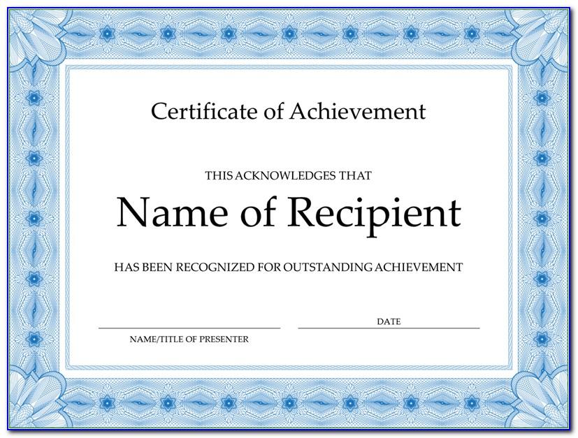 Certificates Of Achievement Templates Word