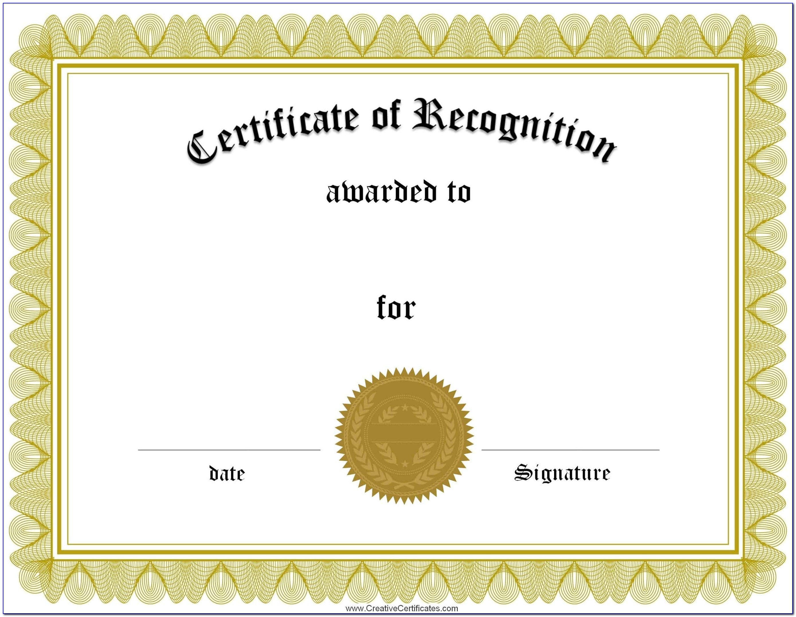 Certificates Of Recognition Templates Free