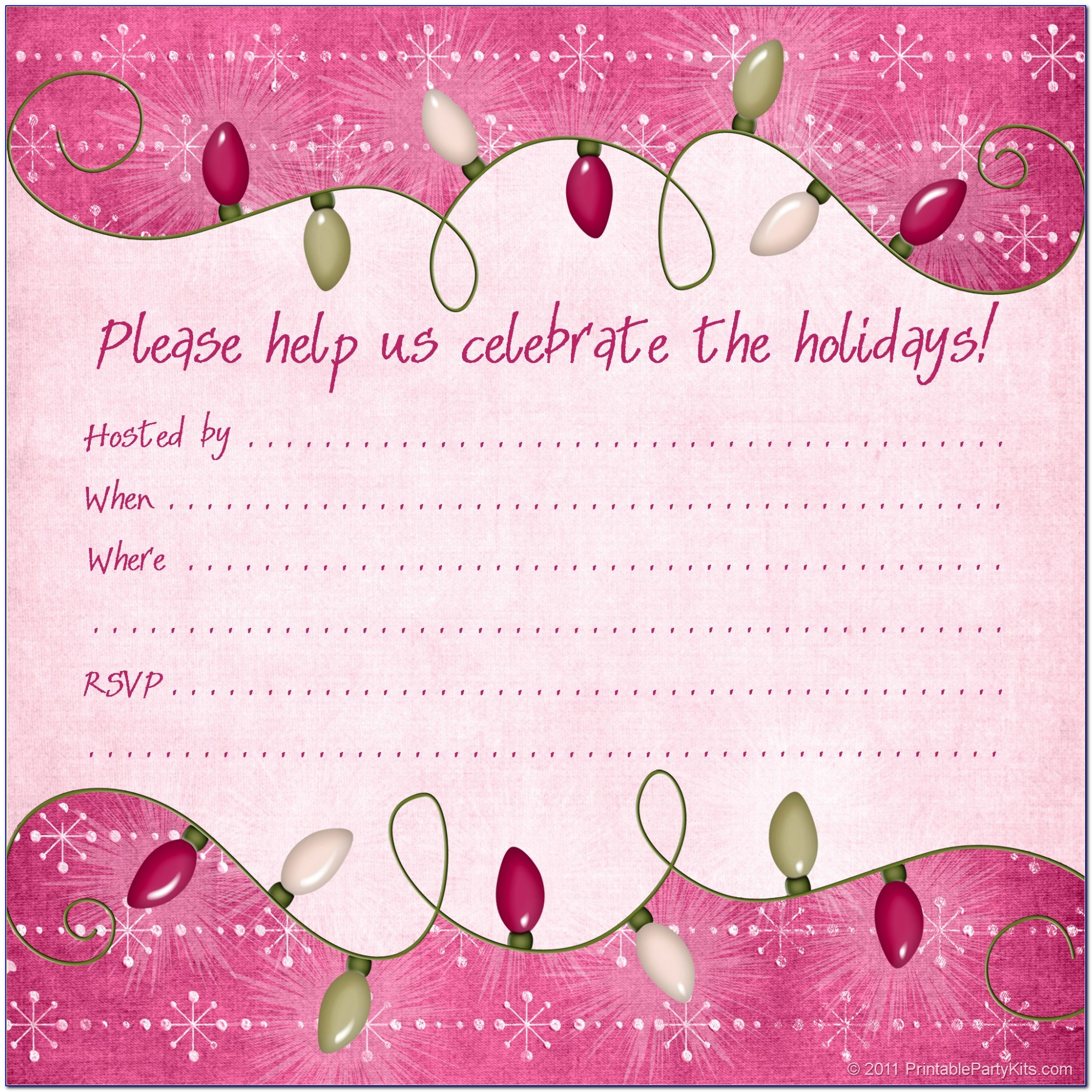 Christmas Party Invitation Templates Microsoft Word