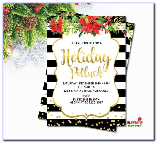 Christmas Potluck Invitation Template Free Printable