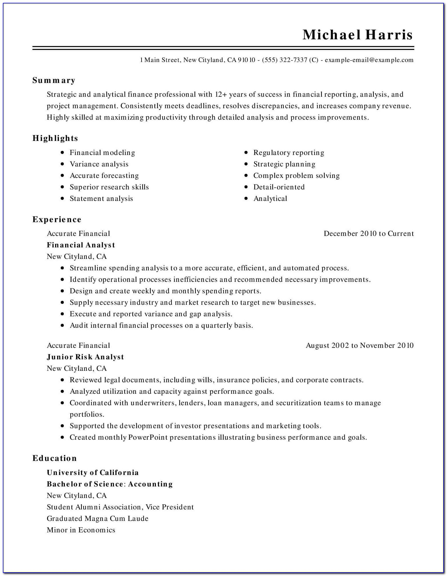Chronological Resume Template Free
