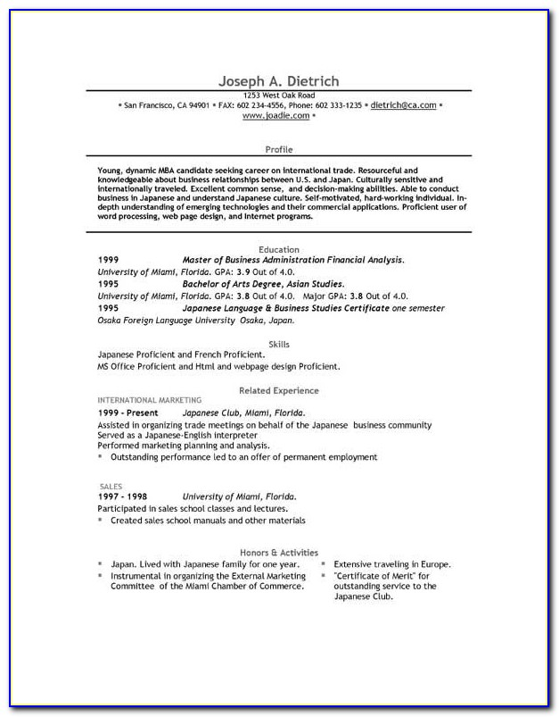 Chronological Resume Template Pdf