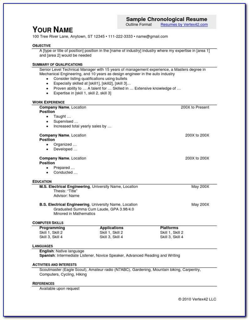 Chronological Resume Template Word Download