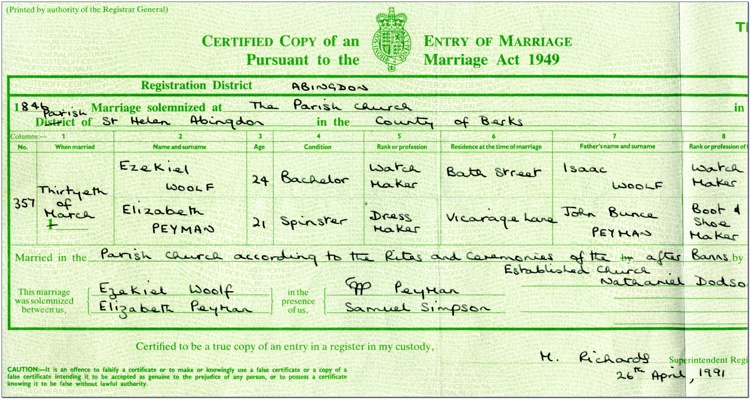 Church Marriage Certificate Templates