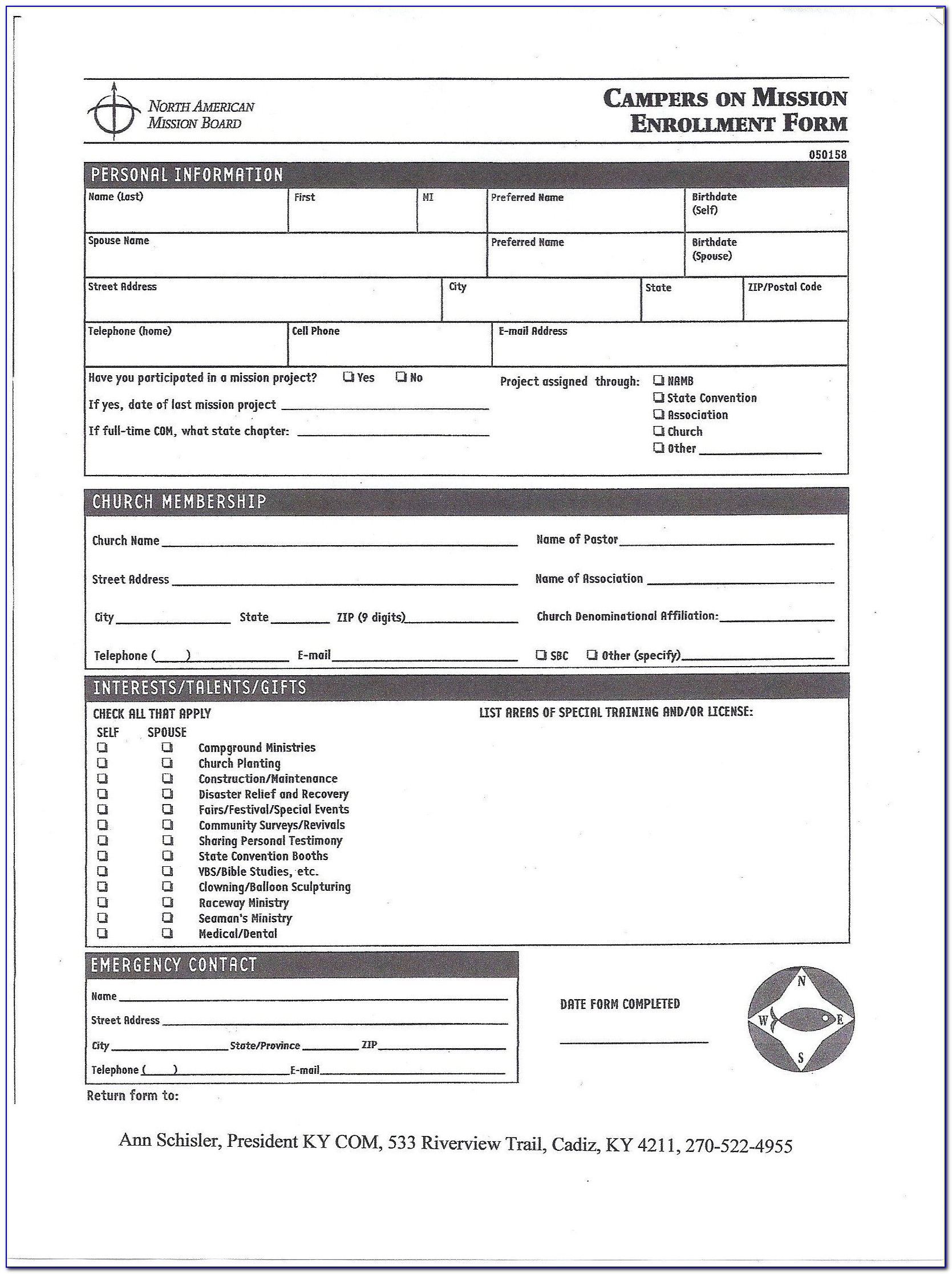 Church Membership Application Form Template