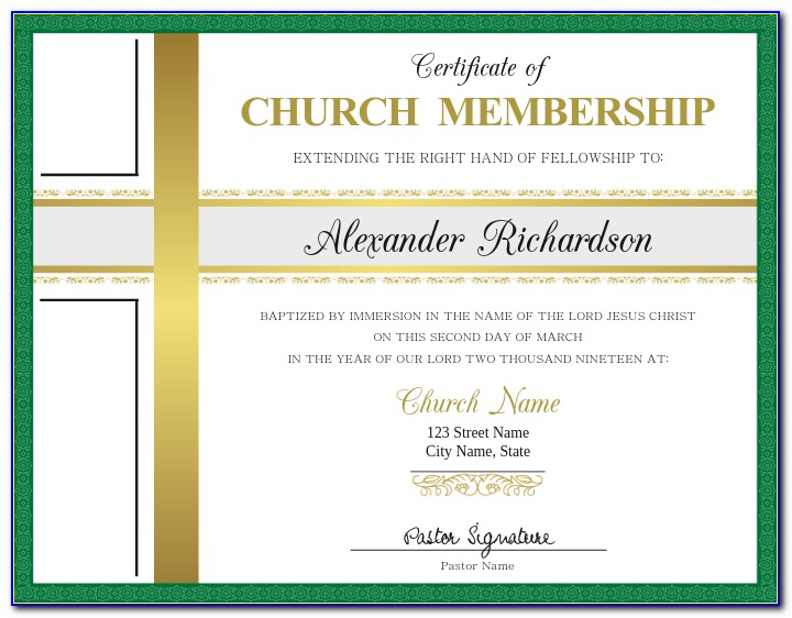 Church Membership Certificate Samples