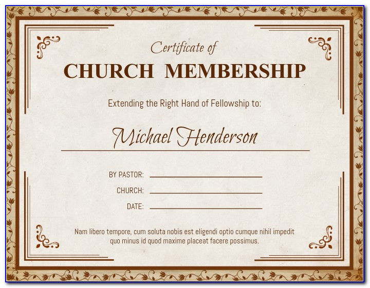 Church Membership Certificate Templates