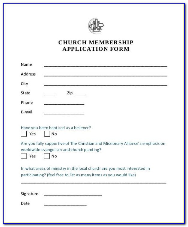 Church Membership Form Template Doc