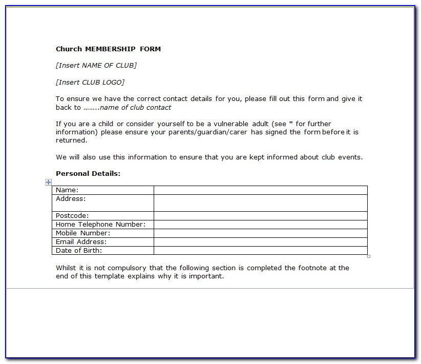 Church Membership Form Template Pdf