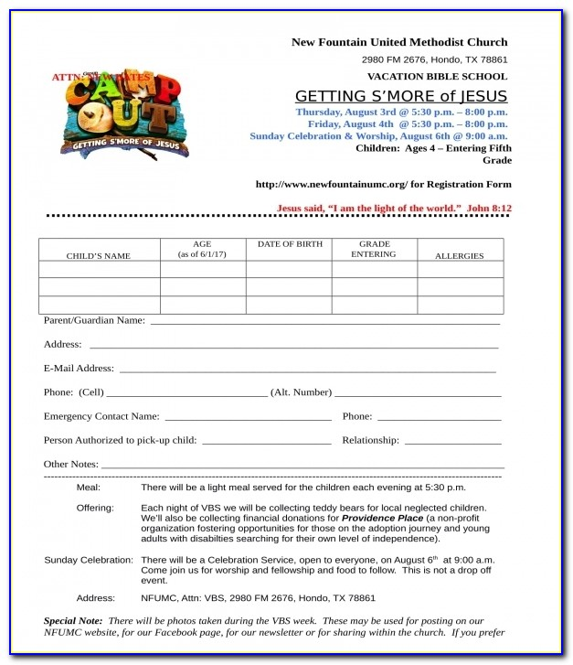 Church Membership Form Template Software