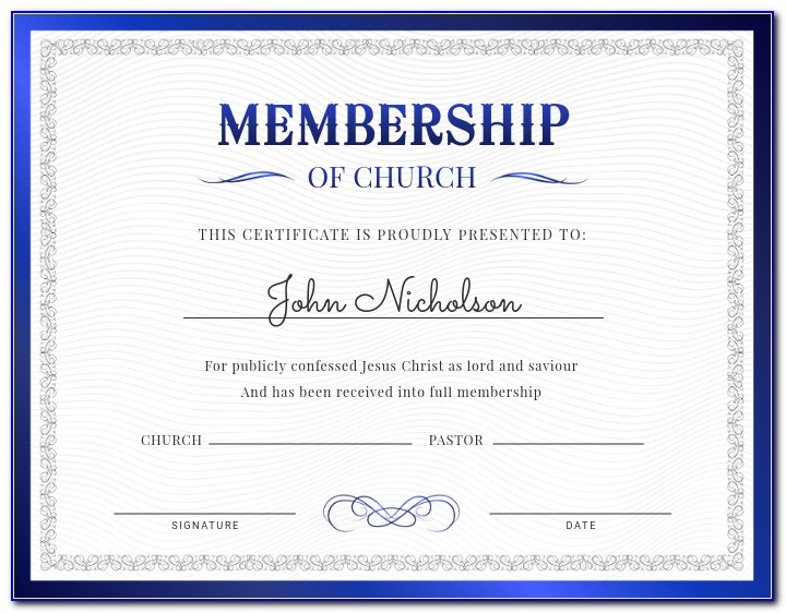 Church Membership Information Form Template
