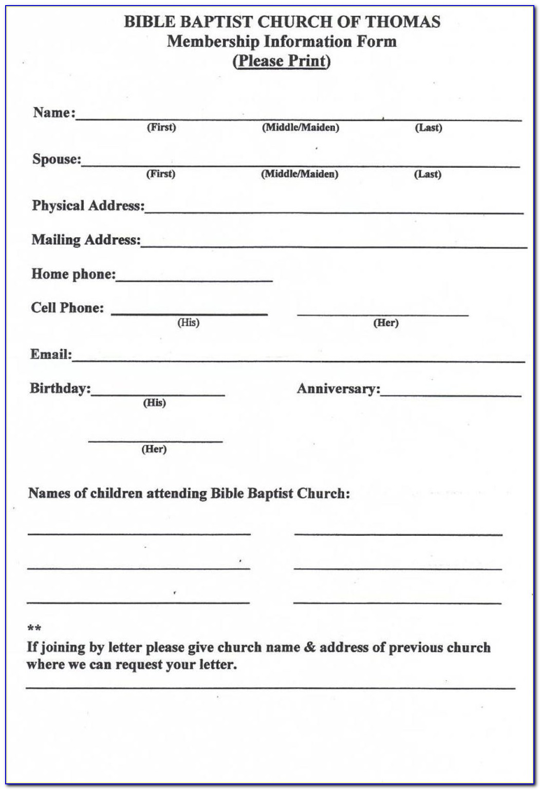 Church Membership Registration Form Template