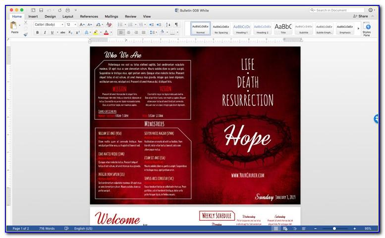 Church Program Template Microsoft Word