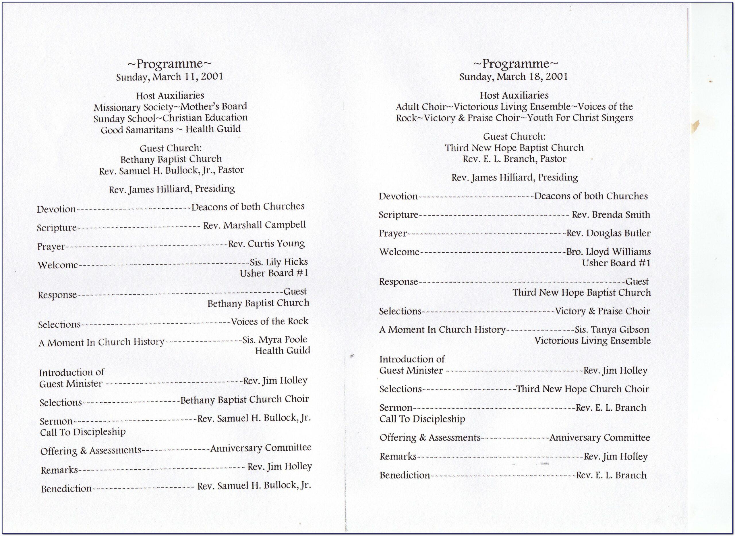 Church Service Bulletin Template