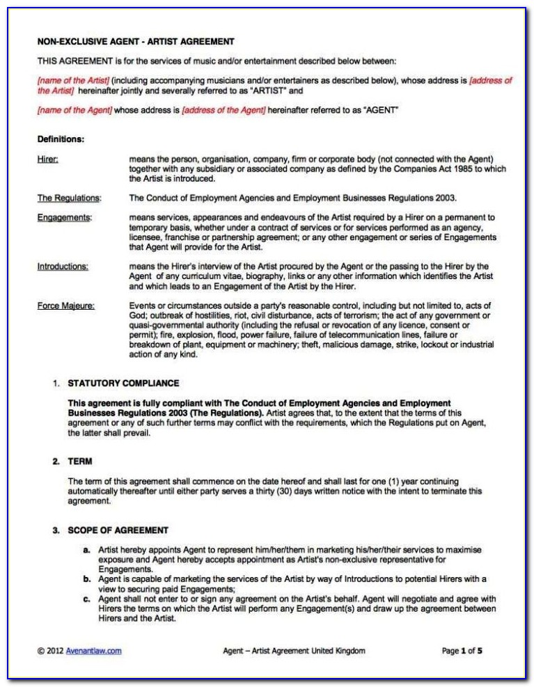Club Promoter Contract Template