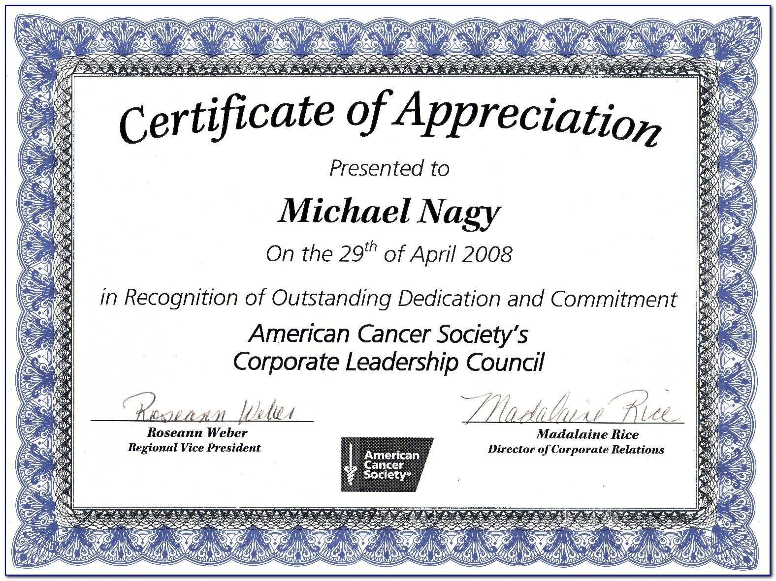 Download Certificates Of Appreciation Templates Free