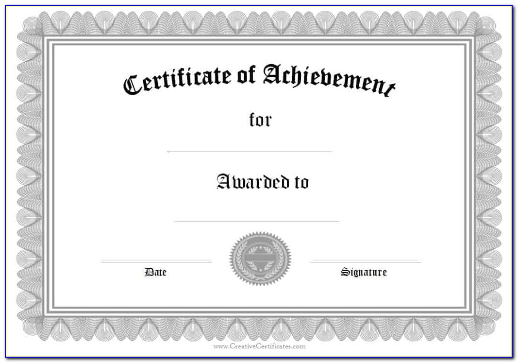 Free Certificate Of Achievement Award Template