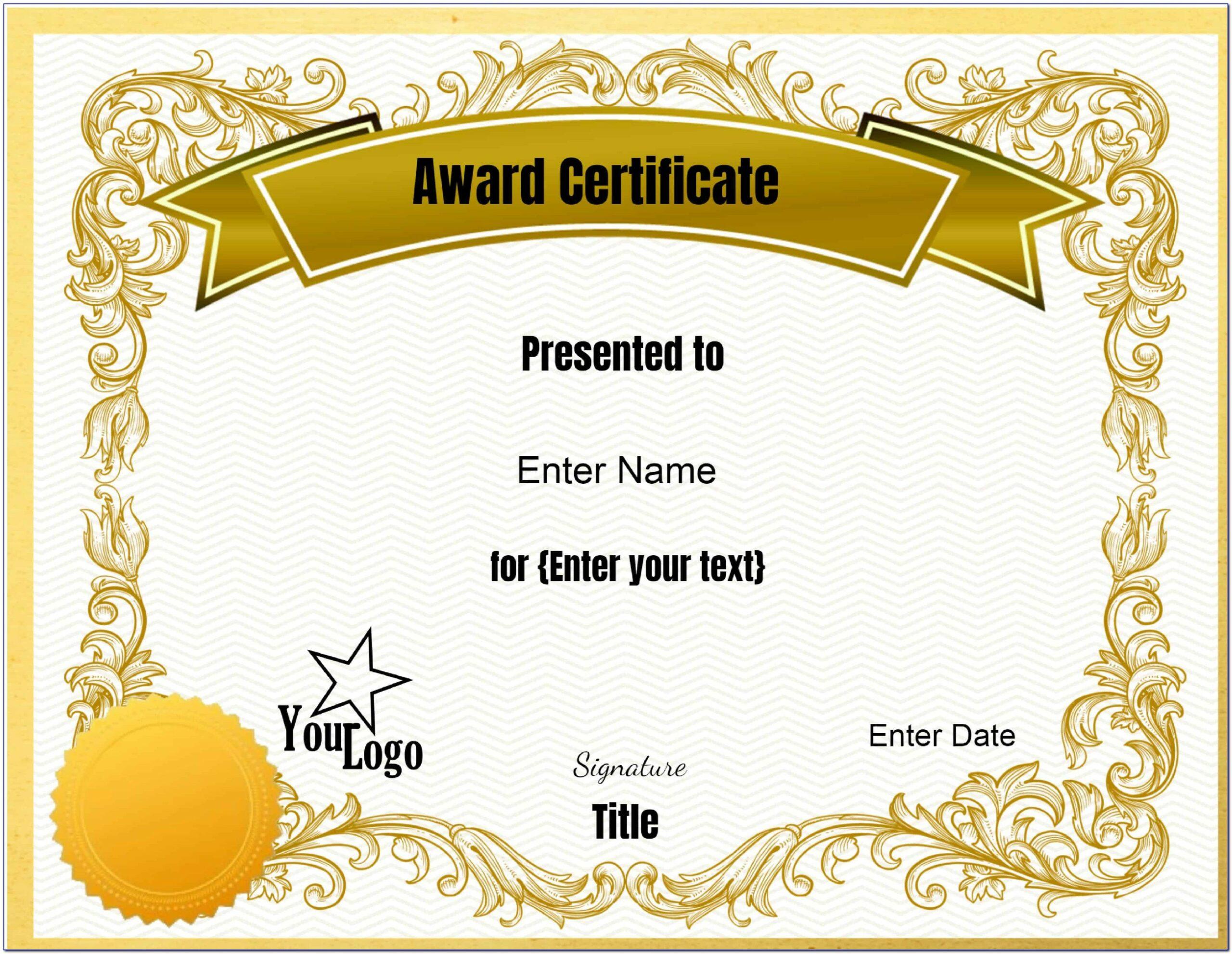 Free Certificate Of Award Templates