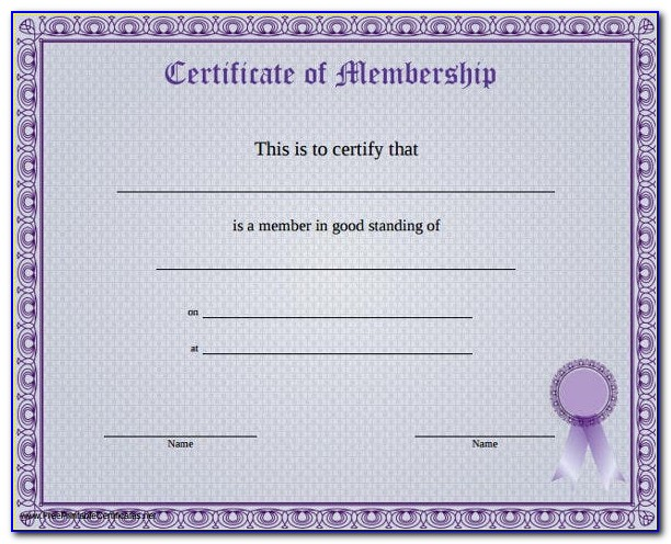 New Church Membership Certificate Template