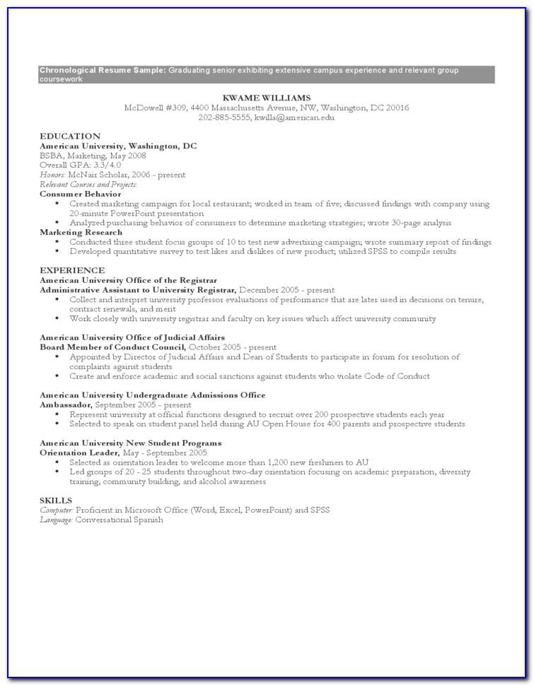 Reverse Chronological Resume Sample Pdf
